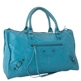 Balenciaga Blue Leather Motocross Classic Bag 285469