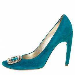 Roger Vivier Turquoise Suede Chain Detail Round Toe Pumps Size 40 285857