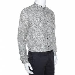 Armani Collezioni Beige Optical Leaf Print Linen Button Front Shirt M 278962