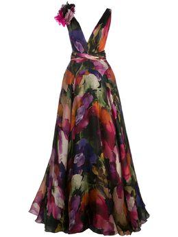 Marchesa длинное платье с цветочным узором M26819