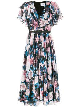 Erdem расклешенное платье с цветочным принтом 21310DBV