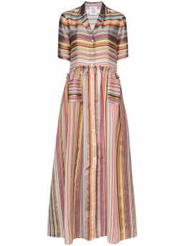 Rosie Assoulin платье-рубашка макси в полоску R202D03WA014Rainbow