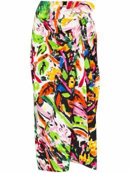 Marni юбка с завязками и цветочным принтом GOMA0275Y1TCY89