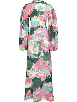 Fendi платье в рубчик с цветочным принтом FDA754A5T1