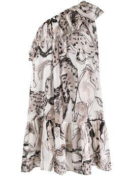 Stella McCartney платье на одно плечо с принтом S7A510840