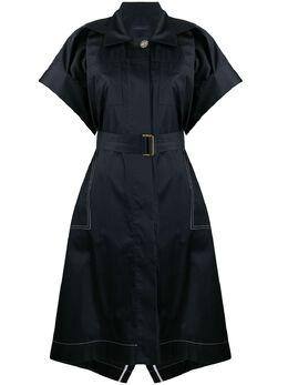 Eudon Choi платье-рубашка с поясом и косым воротником EC20S3D009