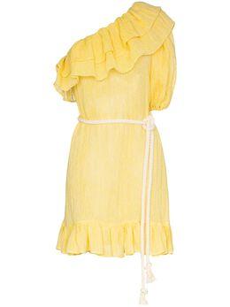 Lisa Marie Fernandez платье мини Arden на одно плечо с оборками 2020SP230YELLOWCHIOSGAUZE2020SP23
