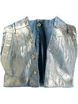 Y / Project деконструированная джинсовая юбка с эффектом металлик WSKIRT24MINIS18
