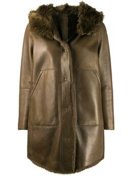 Yves Salomon пальто из овчины с капюшоном 20WYM68587MIX6