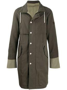Yves Salomon Homme двухцветное пальто с нашивкой-логотипом 20EHM03301H13W