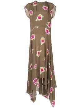 Erika Cavallini платье Irma с цветочным принтом и асимметричным подолом P0ST27