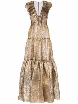 Halpern платье с оборками и V-образным вырезом AW20D09B