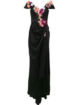 Marchesa вечернее платье с цветочной аппликацией M28804