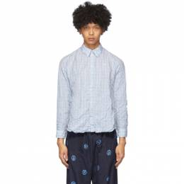 Martine Rose Blue and White Check Crinkled Classic Shirt MRSS20-428
