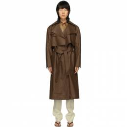 Partow Brown Coated Linen Leon Trench Coat C20103W56