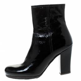 Prada Black Patent Leather Ankle Length Boots Size 40.5 285949