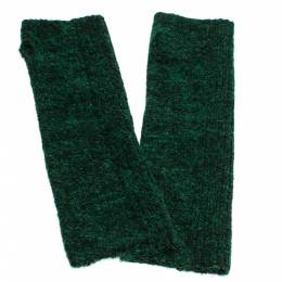 Chanel Green Lurex Knit Embellished Fingerless Gloves 285940