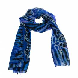 Roberto Cavalli Blue Animal Printed Silk Scarf 282356