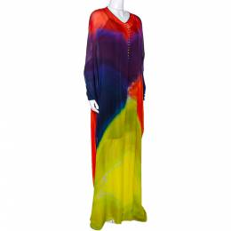 Roberto Cavalli Multicolor Dyed Ombre Silk Kaftan Dress L 285582