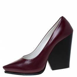 Celine Burgundy Leather Pointed Toe Wedge Pumps Size 38.5 286059