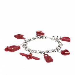 Dior Red Resin Multi Charm Silver Tone Link Bracelet 286054