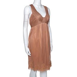 Stella McCartney Copper Silk Tulle Gathered Halter Neck Dress S 286056