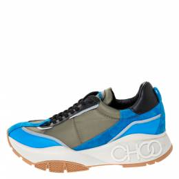 Jimmy Choo Green/Blue Leather And Neoprene Fabric Raine Sneakers Size 39 286067