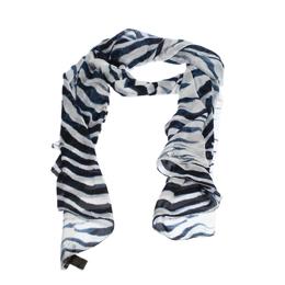 Roberto Cavalli Blue & White Tiger Printed Silk Scarf 284658