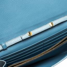 Miu Miu Blue Leather Flap Wallet On Chain 286100