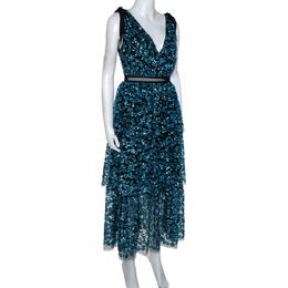 Self-Portrait Blue Sequin Embellished Tulle Tiered Midi Dress M 285720
