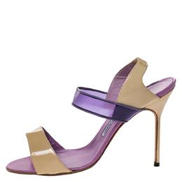 Manolo Blahnik Purple/Beige Patent Leather and PVC Slingback Sandals Size 38.5 286011