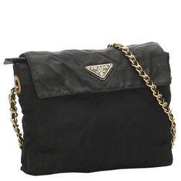 Prada Black Quilted Tessuto Chain Shoulder Bag 284965