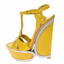 Casadei Yellow Python Embossed Leather Platform Wedge Sandals Size 38.5 286023