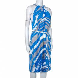 Max Mara Blue Plisse Belted Sleeveless Dress M 285898