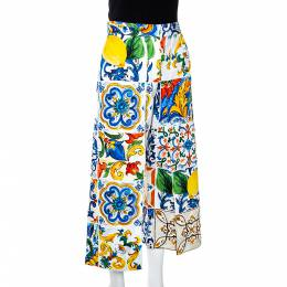 Dolce&Gabbana Multicolor Textured Cotton Majolica Print Cropped Trousers S 285716