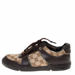 Gucci Beige/Brown GG Canvas and Leather Sneakers Size 38.5 286183