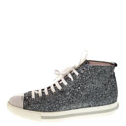 Miu Miu Metallic Silver Glitter And Metal Cap Toe Low Top Sneakers Size 41 286186
