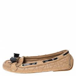 Dior Beige Cannage Quilted Leather Bow Detail Loafers Size 38 286185