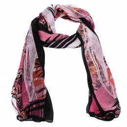 Roberto Cavalli Pink Abstract Floral Printed Silk Scarf 282400