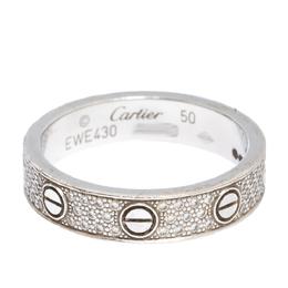 Cartier Love Diamond Paved 18k White Gold Wedding Band Ring Size 50 285863