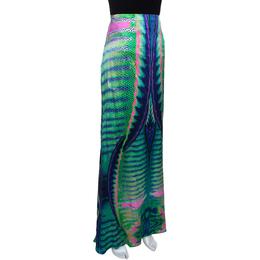 Roberto Cavalli Multicolor Animal Print Silk Flared Skirt L 282415