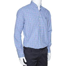 Ralph Lauren Blue Checked Cotton Long Sleeve Button Down Shirt M 286084