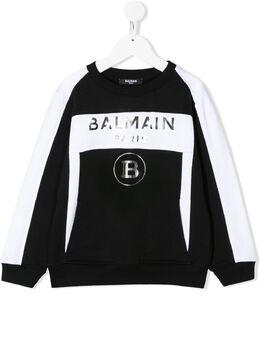 Balmain Kids толстовка с длинными рукавами и логотипом 6M4530MX120
