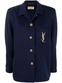 Saint Laurent куртка-рубашка с вышитыми логотипом 623611Y7A09