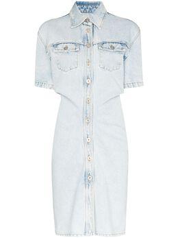 Off-White джинсовое платье мини на пуговицах OWYM003S20DEN0034500