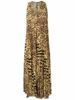 Adriana Degreas платье с плиссировкой и леопардовым принтом MCLG0050V20