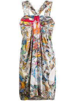 Versace Pre-Owned присборенное платье с абстрактным принтом BR005048