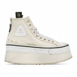 R13 Off-White Platform High-Top Sneakers R13S0070-003