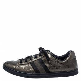 Gucci Metallic Olive Green/Black GG Imprime Canvas Web Low Top Sneakers Size 36 286304