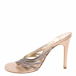 Gina Beige Leather Crystal Embellished Strappy Sandals Size 38 286306